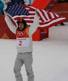 Olympic champion Shaun White celebrates victory in the men`s snowboard halfpipe final at the 2018 Winter Olympics. PYEONGCHANG, SOUTH KOREA – FEBRUARY 14, 2018 Royalty Free Stock Photography