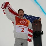 Olympic champion Shaun White celebrates victory in the men`s snowboard halfpipe final at the 2018 Winter Olympics. PYEONGCHANG, SOUTH KOREA – FEBRUARY 14, 2018 Royalty Free Stock Photos