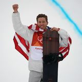 Olympic champion Shaun White celebrates victory in the men`s snowboard halfpipe final at the 2018 Winter Olympics. PYEONGCHANG, SOUTH KOREA – FEBRUARY 14 royalty free stock photography