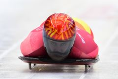 Ander Mirambell of Spain competes in the Skeleton Men Official Training Heat at the 2018 Winter Olympics. PYEONGCHANG, SOUTH KOREA - FEBRUARY 14, 2018: Ander Stock Images