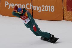 Bronze medalist Scotty James of Australia competes in the men`s snowboard halfpipe final at the 2018 Winter Olympics. PYEONGCHANG, SOUTH KOREA  FEBRUARY 14, 2018 Royalty Free Stock Image