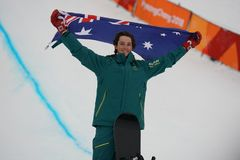 Bronze medalist Scotty James of Australia during venue ceremony after the men`s snowboard halfpipe final at the 2018 Olympics. PYEONGCHANG, SOUTH KOREA  FEBRUARY Stock Image