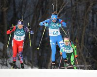 Dorothea Wierer of Italy number 69 competes in biathlon Women`s 15km Individual at the 2018 Winter Olympic Games Royalty Free Stock Photography