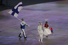 Janne Ahonyen carrying the flag of Finland leading the Finnish Olympic team at the PyeongChang 2018 Winter Olympic Games. PYEONGCHANG, SOUTH KOREA - FEBRUARY 9 Stock Photo