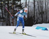 Kaisa Makarainen of Finland competes in biathlon Women`s 15km Individual at the 2018 Winter Olympic Games Royalty Free Stock Image