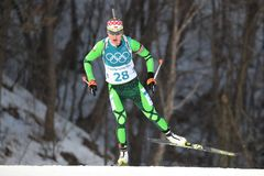 Olympic champion Darya Domracheva of Belarus competes in biathlon Women`s 15km Individual at the 2018 Winter Olympics. PYEONGCHANG, SOUTH KOREA - FEBRUARY 15 Stock Photography