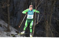Olympic champion Darya Domracheva of Belarus competes in biathlon Women`s 15km Individual at the 2018 Winter Olympics. PYEONGCHANG, SOUTH KOREA - FEBRUARY 15 Stock Image
