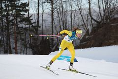 Olympic champion  Hanna Oeberg of Sweden competes in biathlon Women`s 15km Individual at the 2018 Winter Olympics. PYEONGCHANG, SOUTH KOREA - FEBRUARY 15, 2018 Royalty Free Stock Images