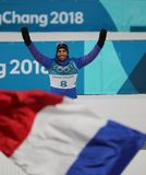 Olympic champion Martin Fourcade of France competes in biathlon men`s 12.5km pursuit at the 2018 Winter Olympics. PYEONGCHANG, SOUTH KOREA - FEBRUARY 12, 2018 Royalty Free Stock Photos