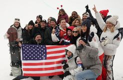 Olympic champion Shaun White celebrates victory with family and friends in the men`s snowboard halfpipe final at the 2018 Olympics. PYEONGCHANG, SOUTH KOREA Royalty Free Stock Photography
