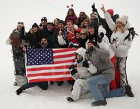 Olympic champion Shaun White celebrates victory with family and friends in the men`s snowboard halfpipe final at the 2018 Olympics. PYEONGCHANG, SOUTH KOREA Royalty Free Stock Photos