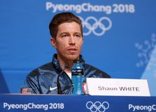 Olympic champion Shaun White during press conference after his victory in the men`s snowboard halfpipe at the 2018 Winter Olympics. PYEONGCHANG, SOUTH KOREA Royalty Free Stock Image