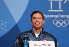 Olympic champion Shaun White during press conference after his victory in the men`s snowboard halfpipe at the 2018 Winter Olympics. PYEONGCHANG, SOUTH KOREA Royalty Free Stock Photos