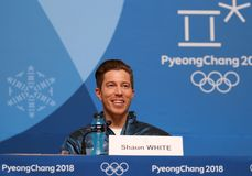 Olympic champion Shaun White during press conference after his victory in the men`s snowboard halfpipe at the 2018 Winter Olympics. PYEONGCHANG, SOUTH KOREA Stock Image