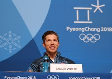 Olympic champion Shaun White during press conference after his victory in the men`s snowboard halfpipe at the 2018 Winter Olympics. PYEONGCHANG, SOUTH KOREA Royalty Free Stock Images