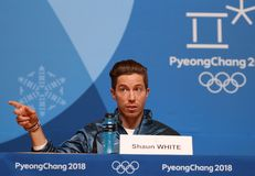 Olympic champion Shaun White during press conference after his victory in the men`s snowboard halfpipe at the 2018 Winter Olympics. PYEONGCHANG, SOUTH KOREA Royalty Free Stock Photo