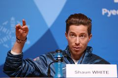 Olympic champion Shaun White during press conference after his victory in the men`s snowboard halfpipe at the 2018 Winter Olympics. PYEONGCHANG, SOUTH KOREA Stock Photos