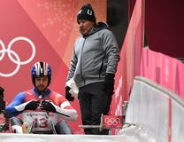 Silver medalist Chris Mazdzer of the United States competes in Luge Men`s Singles at Olympic Sliding Centre. PYEONGCHANG, SOUTH KOREA - FEBRUARY 10, 2018: Silver Royalty Free Stock Photo