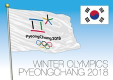 PYEONGCHANG, SOUTH KOREA, FEBRUARY 2018 - Winter Olympics games flag and symbol, South Korea. Vector illustration Royalty Free Stock Photos