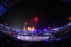 The 2018 Winter Olympics Opening Ceremony. PYEONGCHANG, SOUTH KOREA - FEBRUARY 9, 2018: The 2018 Winter Olympics Opening Ceremony. Olympic Games 2018 officially Stock Photography