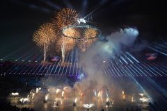 The 2018 Winter Olympics Opening Ceremony. PYEONGCHANG, SOUTH KOREA - FEBRUARY 9, 2018: The 2018 Winter Olympics Opening Ceremony. Olympic Games 2018 officially Stock Photos