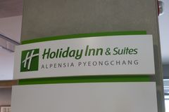 Pyeongchang, South Korea - 6 june 2019: Holiday Inn & Suites sign at Alpensia Olympic Park in Pyeongchang.  royalty free stock photo