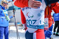 Pyeongchang 2018 March 14th Biathlon center - in Cross-Country S royalty free stock photo