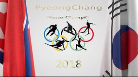 PyeongChang Winter Olympics animation. With North and South Korean flags. Olympic rings and sports figures in center and PyeonChang Winter Olympics 2018 in gold stock footage