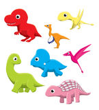 Pygmy Dinosaurs Cartoon Vector Illustration Stock Photos