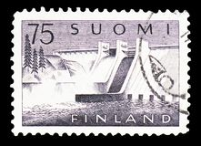Pyhäkoski Power Plant, serie, circa 1959. MOSCOW, RUSSIA - FEBRUARY 10, 2019: A stamp printed in Finland shows Pyhäkoski Power Plant, serie, circa 1959 royalty free stock photos