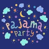 Pyjama-Partei Übergeben Sie gezogene Beschriftung mit Sternen, Halbmond und Wolken stock abbildung