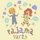 Pyjama-Partei Lustige Kinder und Hand gezeichnete Beschriftung mit Sternen, Halbmond und Wolken vektor abbildung