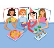 Pyjamaparty mit vier netter Freundin-Vektor-Illustration Ingwer-, Brunette-, blonde und Browns behaarte Freundinnen vektor abbildung