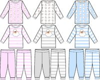 Pyjamas collection. A pyjamas collection for girls and boys Stock Photos