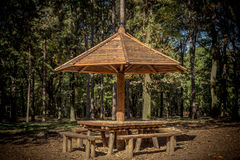 Pykniczny drewniany stół i ławki Obrazy Royalty Free