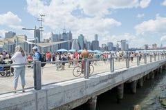 Pykniczny molo w mosta brooklyńskiego parku zdjęcia royalty free
