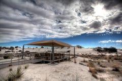 Pykniczny pawilon przy Białych piasków Krajowym zabytkiem Nowym - Mexico fotografia stock