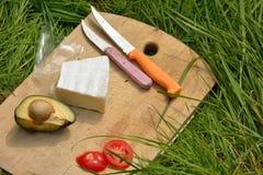 Pykniczny pojęcie, knifes avocado serowi pomidory Obraz Stock