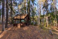 Pykniczny teren, stół i ławki zakrywający w lesie, zdjęcie stock
