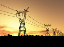 pylônes de l'électricité Images stock