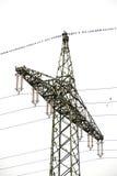 Pylône à haute tension de puissance avec un bon nombre d'étourneaux communs et de x28 ; Sturnus Photographie stock