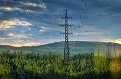 Pylônes de l'électricité coupant par la forêt Photographie stock libre de droits