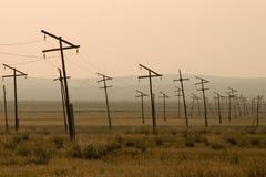 Pylônes de l'électricité dans la prairie, Mongolie Images stock