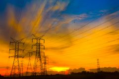 pylon ηλιοβασίλεμα Στοκ φωτογραφίες με δικαίωμα ελεύθερης χρήσης