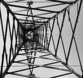 Pylon. An big pylon to carry electricity viewed from the bottom stock photo