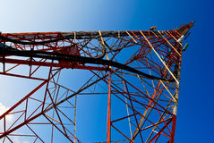 Pylon. Big red pylon with rust on blue skye Royalty Free Stock Photography