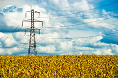 Pylon. An electricity pylon with cloudy sky and wheat stock photography
