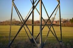 Pylon. Base of an electricity pylon, background, bokeh royalty free stock photography