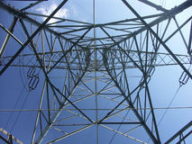 Pylon from below. Power transmission pylon royalty free stock image