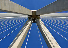 Pylon of the big bridge construction bottom view photography Stock Image